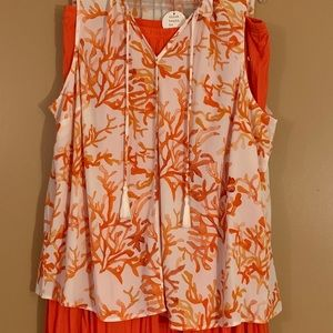 Orange skirt and blouse 2X